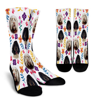 Portuguese Water Dog Floral Design Crew Socks - JillnJacks Exclusive - Jill 'n Jacks
