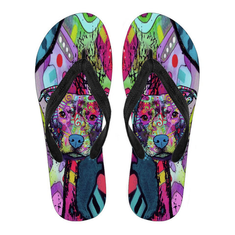 Pitbull Design Men's Flip Flops  - Dean Russo Art