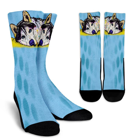 Husky Design Crew Socks - Dean Russo Art