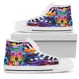 Westie Men's High Top Canvas Shoes - Dean Russo Art