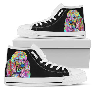 Poodle Men's High Top Canvas Shoes - Dean Russo Art