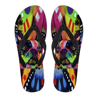 French Bulldog Design Men's Flip Flops - Dean Russo Art - Jill 'n Jacks