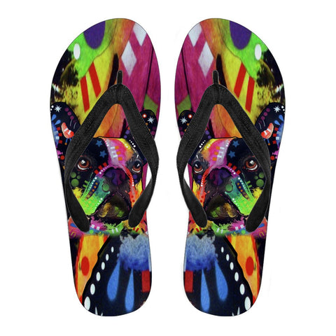 French Bulldog Design Men's Flip Flops  - Dean Russo Art