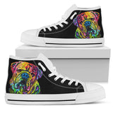 Bulldog Women's High Top Canvas Shoes - Dean Russo Art
