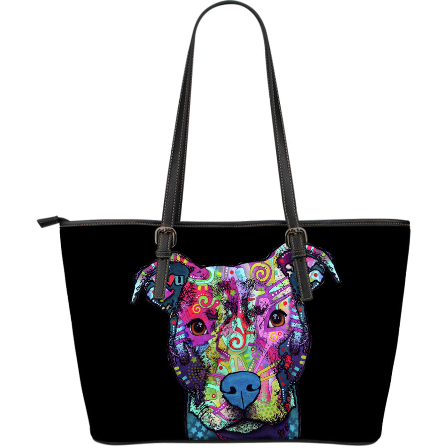 Pitbull Large Leather Tote Bag - Dean Russo Art - Jill 'n Jacks