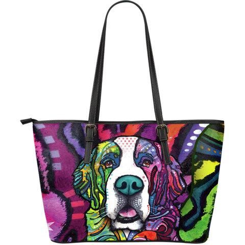 Saint Bernard Large Leather Tote Bag - Dean Russo Art