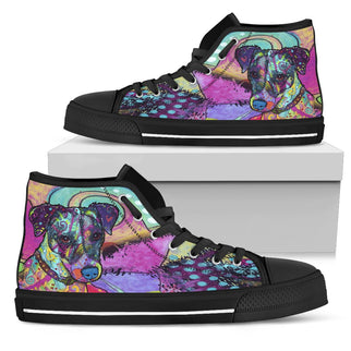 Jack Russell Terrier Men's High Top Canvas Shoes - Dean Russo Art - Jill 'n Jacks