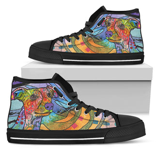 Whippet Men's High Top Canvas Shoes - Dean Russo Art