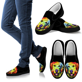 Golden Retriever Design Men's Slip Ons - Dean Russo Art - Jill 'n Jacks