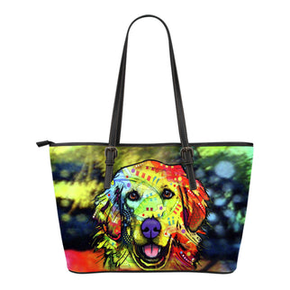 Golden Retriever Small Leather Tote Bags - Dean Russo Art - Jill 'n Jacks