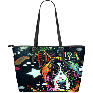 Akita Large Leather Tote Bag - Dean Russo Art - Jill 'n Jacks