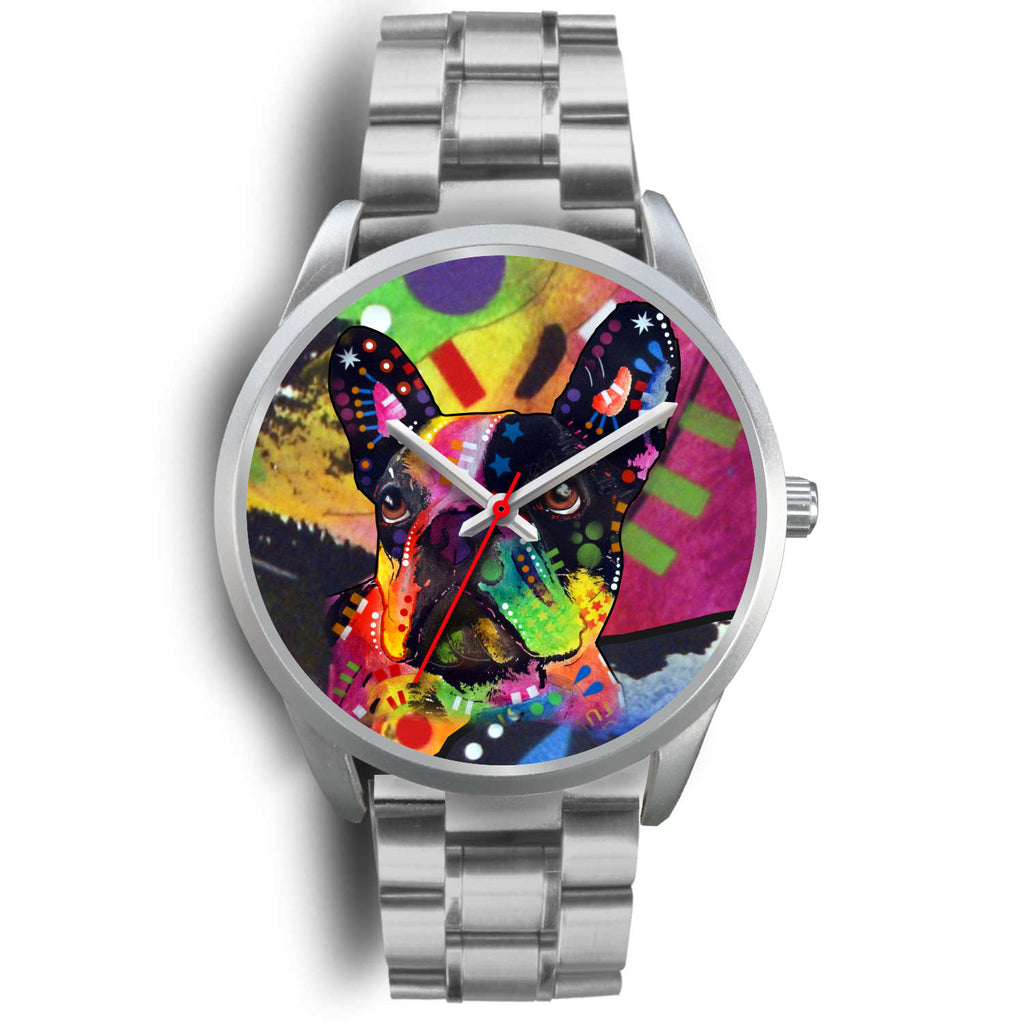 French Bulldog Silver Watch Design - Dean Russo Art - Jill 'n Jacks