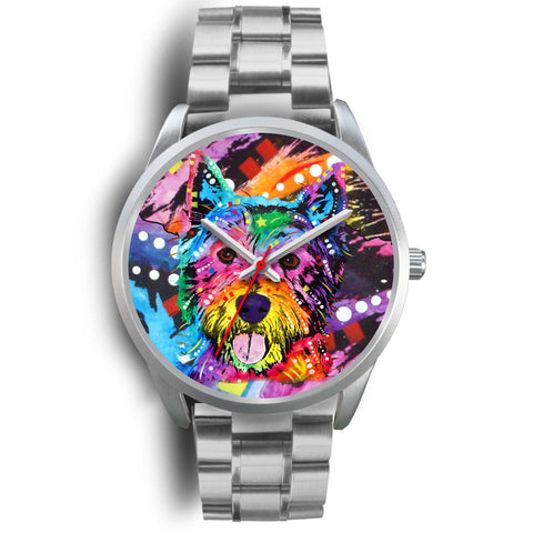 Westie Silver Watch Design - Dean Russo Art