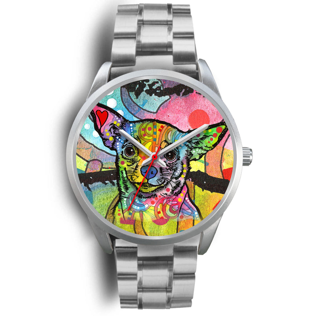 Chihuahua Silver Watch Design - Dean Russo Art