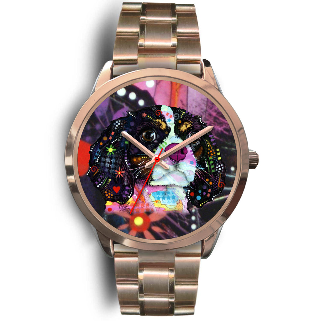 Cavalier King Charles Spaniel Rose Gold Watch Design - Dean Russo Art