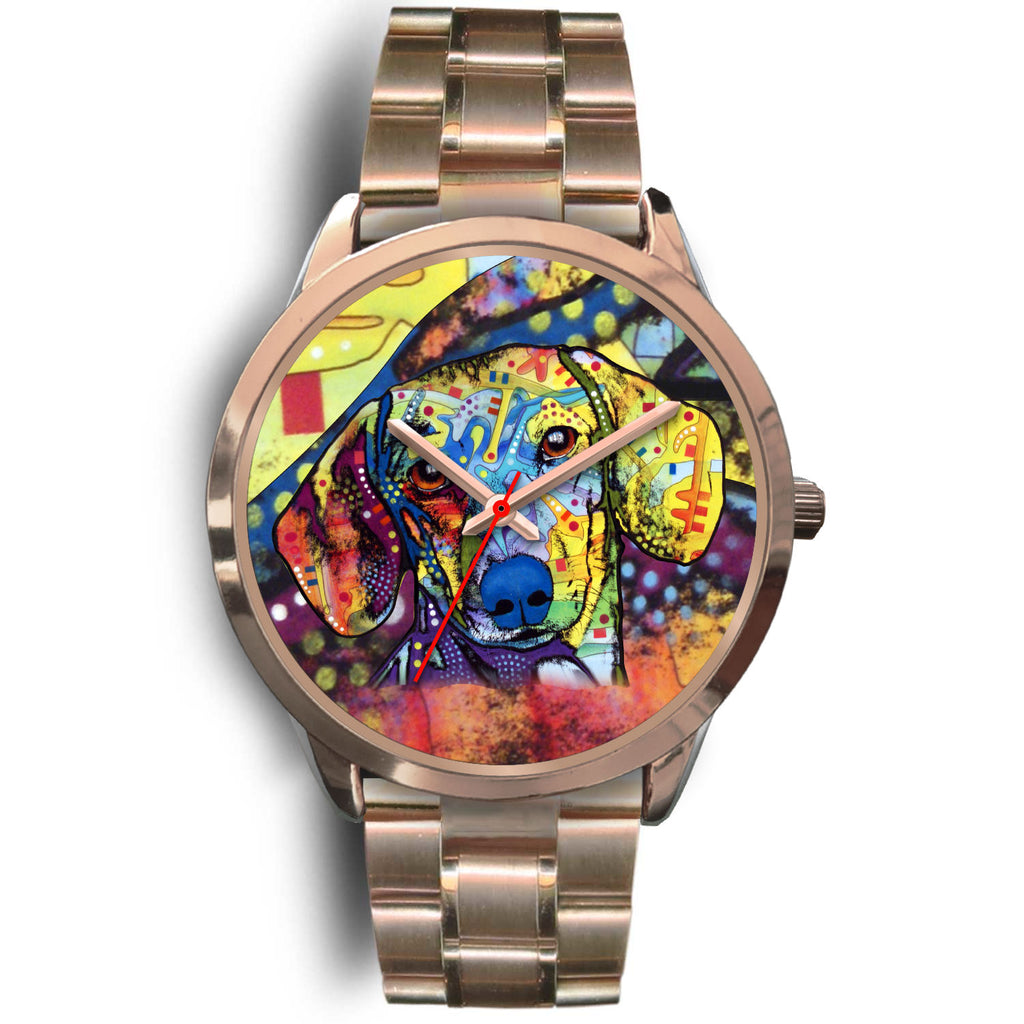 Dachshund Designed Rose Gold Watch - Dean Russo Art