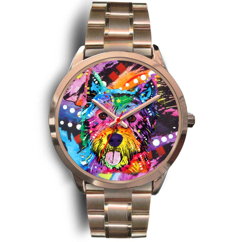 Westie Rose Gold Watch Design - Dean Russo Art