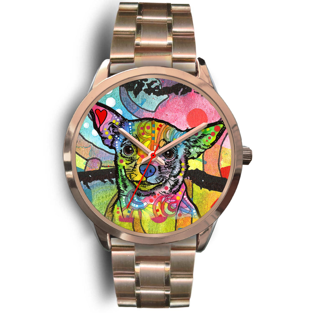 Chihuahua Designed Rose Gold Watch - Dean Russo Art