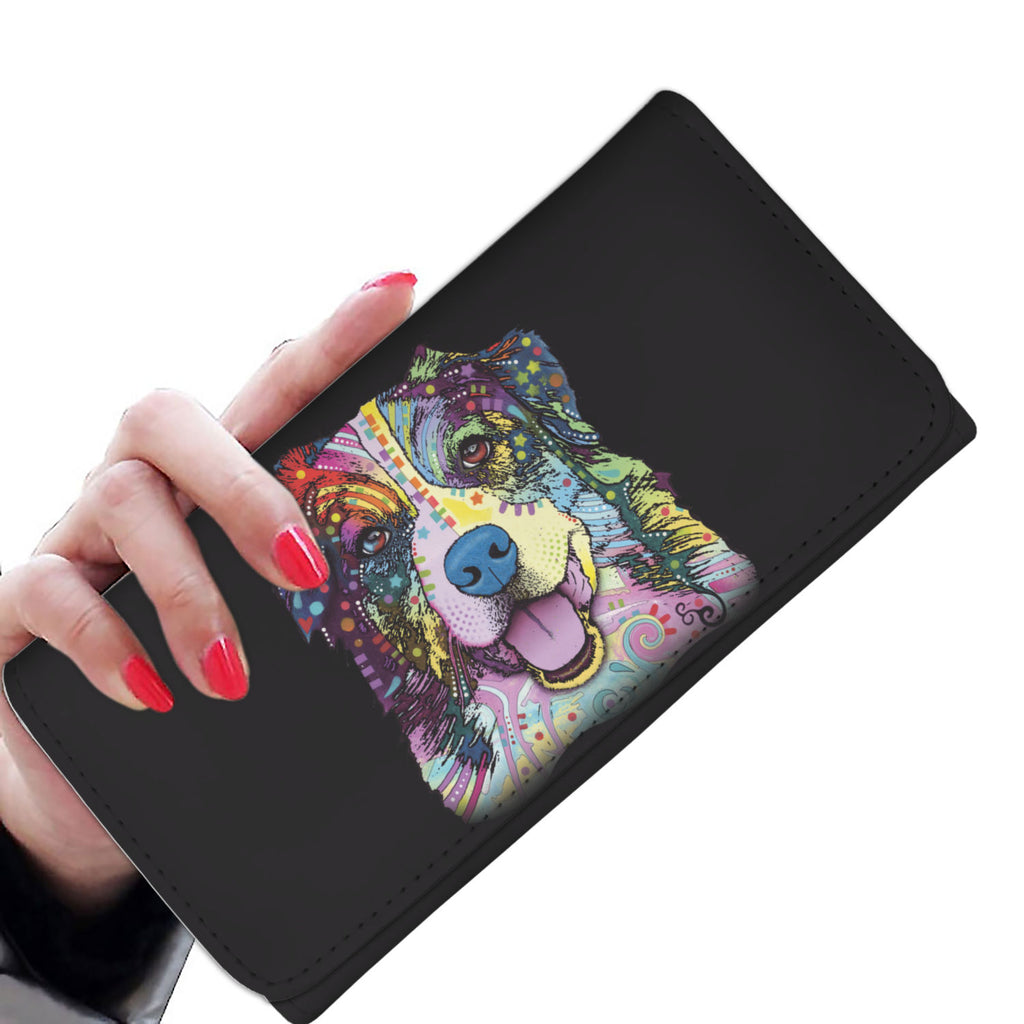 Australian Shepherd Design Black Womens Wallet - Dean Russo Art