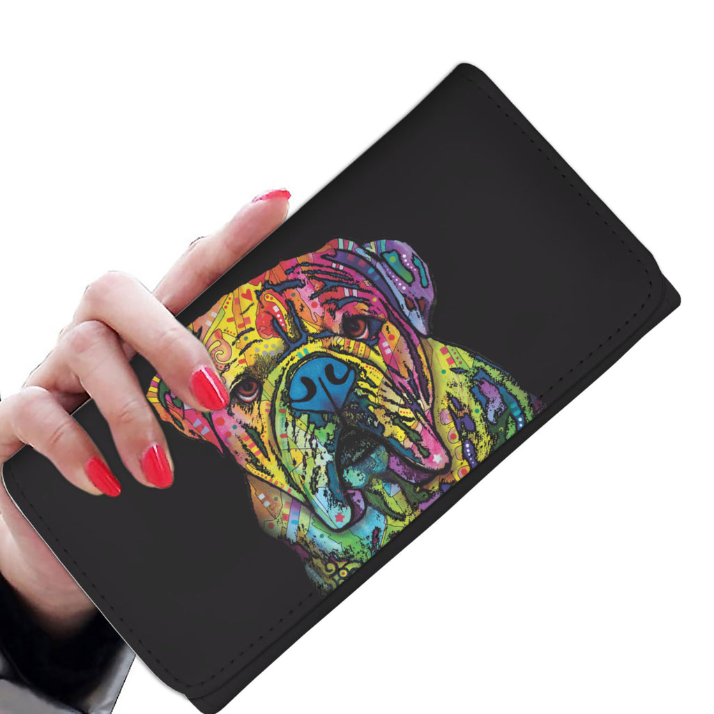 Bulldog Design Black Womens Wallet - Dean Russo Art