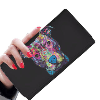 Pitbull Design Black Womens Wallet - Dean Russo Art