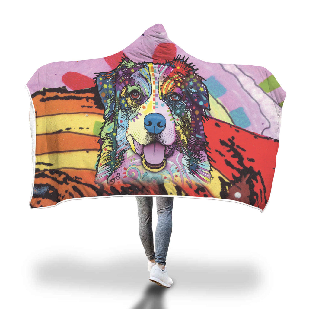 Australian Shepherd Design Hooded Blanket - Dean Russo Art