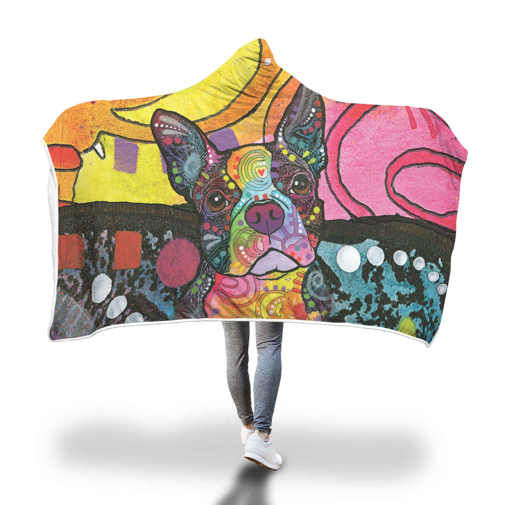 Boston Terrier  Design Hooded Blanket - Dean Russo Art