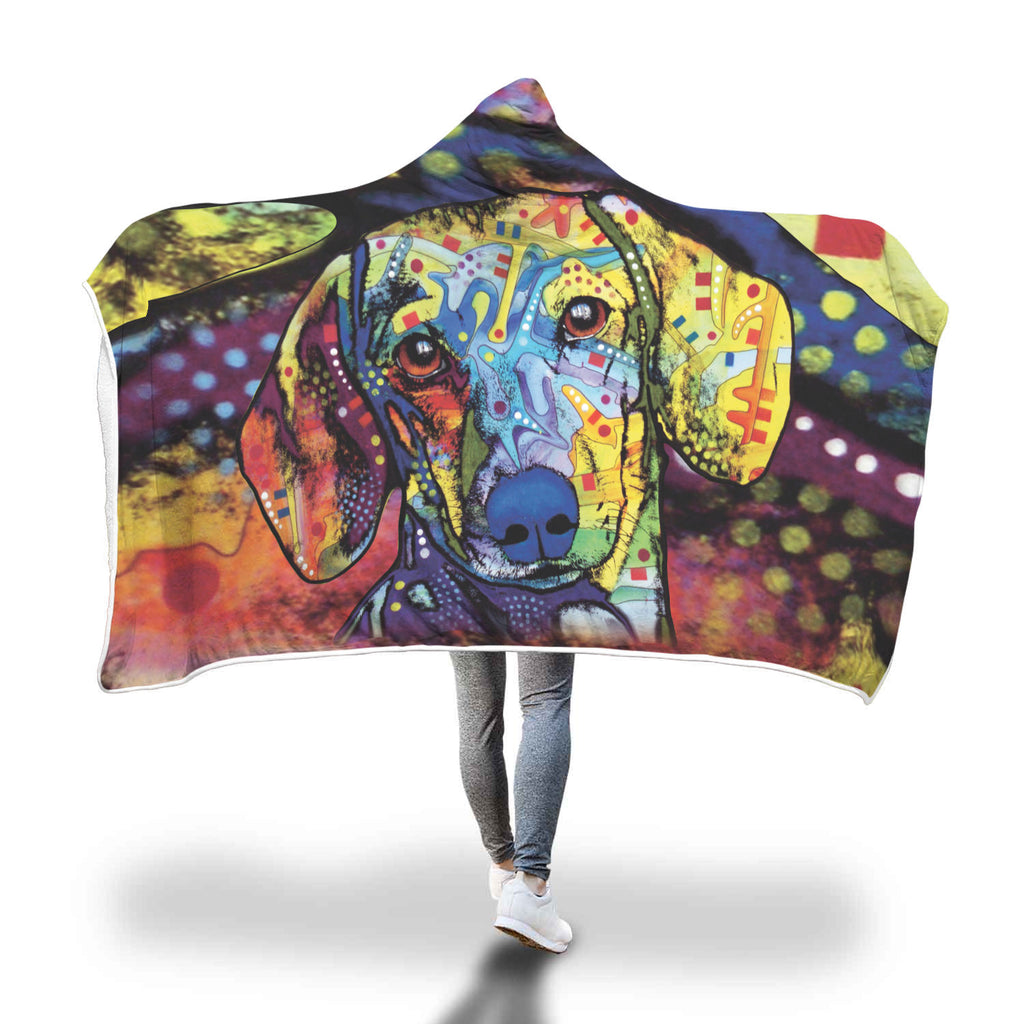 Dachshund Design Hooded Blanket - Dean Russo Art