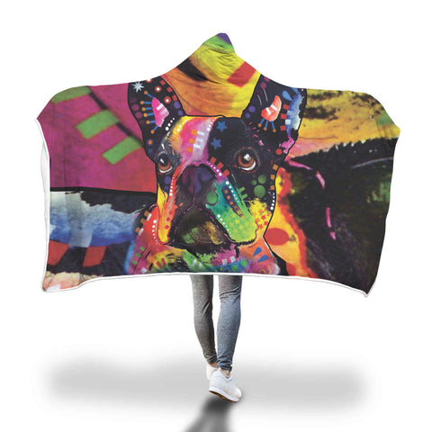 French Bulldog Design Hooded Blanket - Dean Russo Art