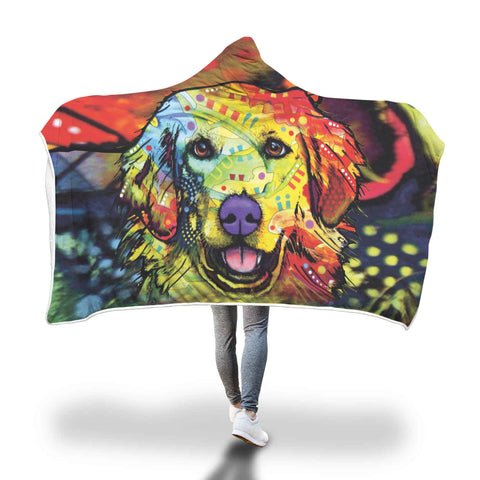 Golden Retriever Design Hooded Blanket - Dean Russo Art
