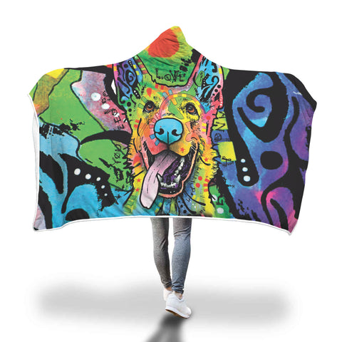 German Shepherd Design Hooded Blanket - Dean Russo Art