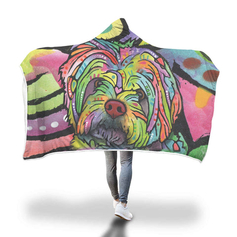 Havanese Design Hooded Blanket - Dean Russo Art