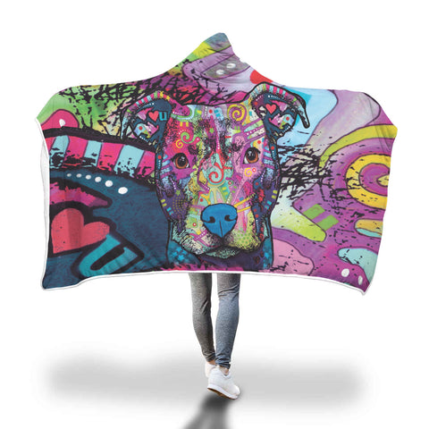Pitbull Design Hooded Blanket - Dean Russo Art