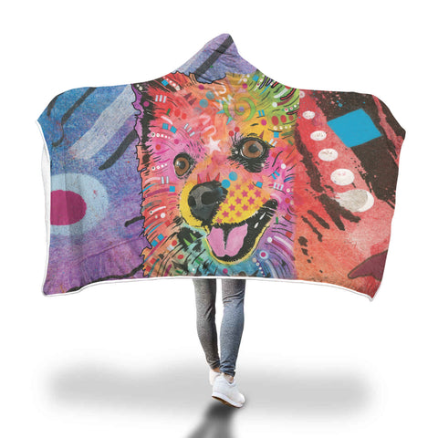 Pomeranian Design Hooded Blanket - Dean Russo Art