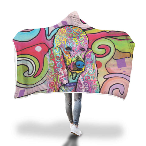 Poodle Design Hooded Blanket - Dean Russo Art
