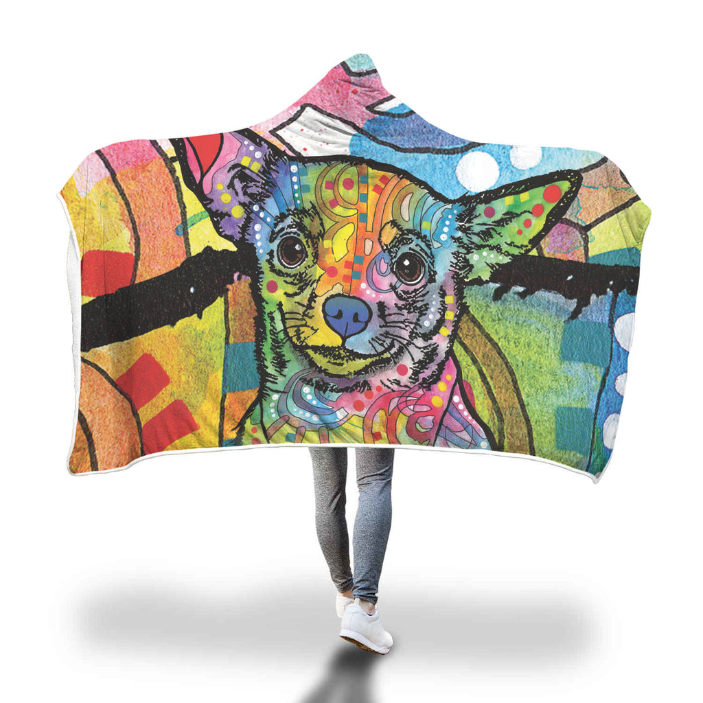 Chihuahua Design Hooded Blanket - Dean Russo Art