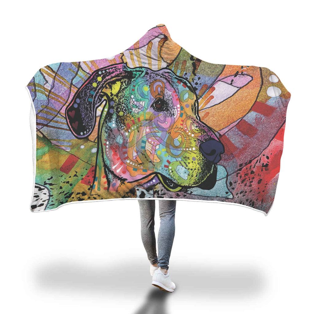Great Dane Design Hooded Blanket - Dean Russo Art