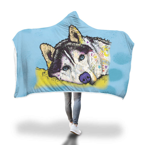 Husky Design Hooded Blanket - Dean Russo Art