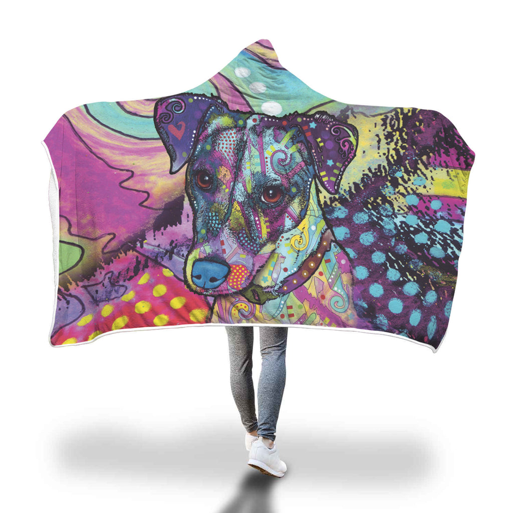 Jack Russell Terrier Design Hooded Blanket - Dean Russo Art