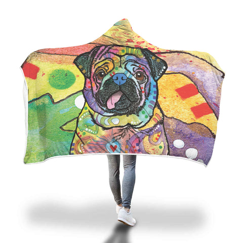 Pug Design Hooded Blanket - Dean Russo Art