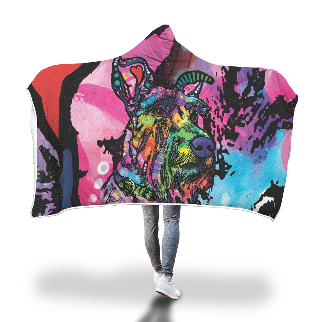 Schnauzer Design Hooded Blanket - Dean Russo Art