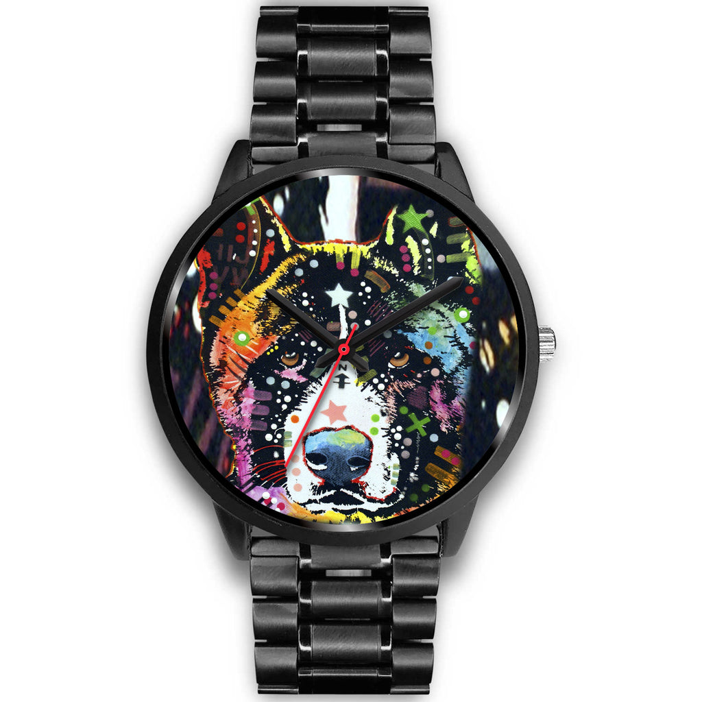 Akita Black Watch Design - Dean Russo Art