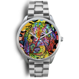 Labradoodle Silver Watch Design - Dean Russo Art - Jill 'n Jacks