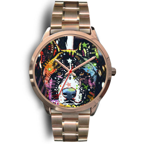 Akita Rose Gold Watch Design - Dean Russo Art