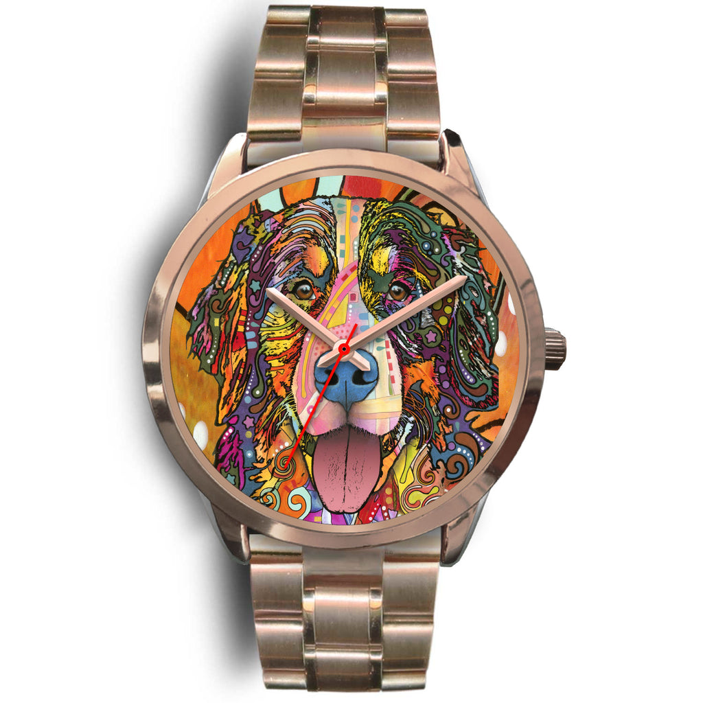 Bernese Mountain Rose Gold Watch Design - Dean Russo Art