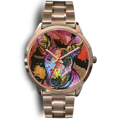 Bull Terrier Rose Gold Watch Design - Dean Russo Art