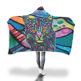 Cat Design Hooded Blanket - Dean Russo Art - Jill 'n Jacks