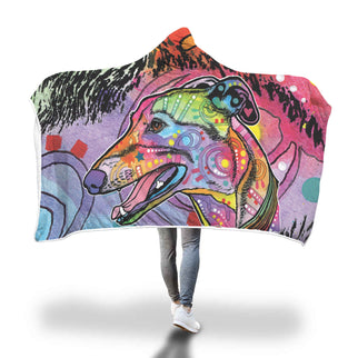 Greyhound Design Hooded Blanket - Dean Russo Art