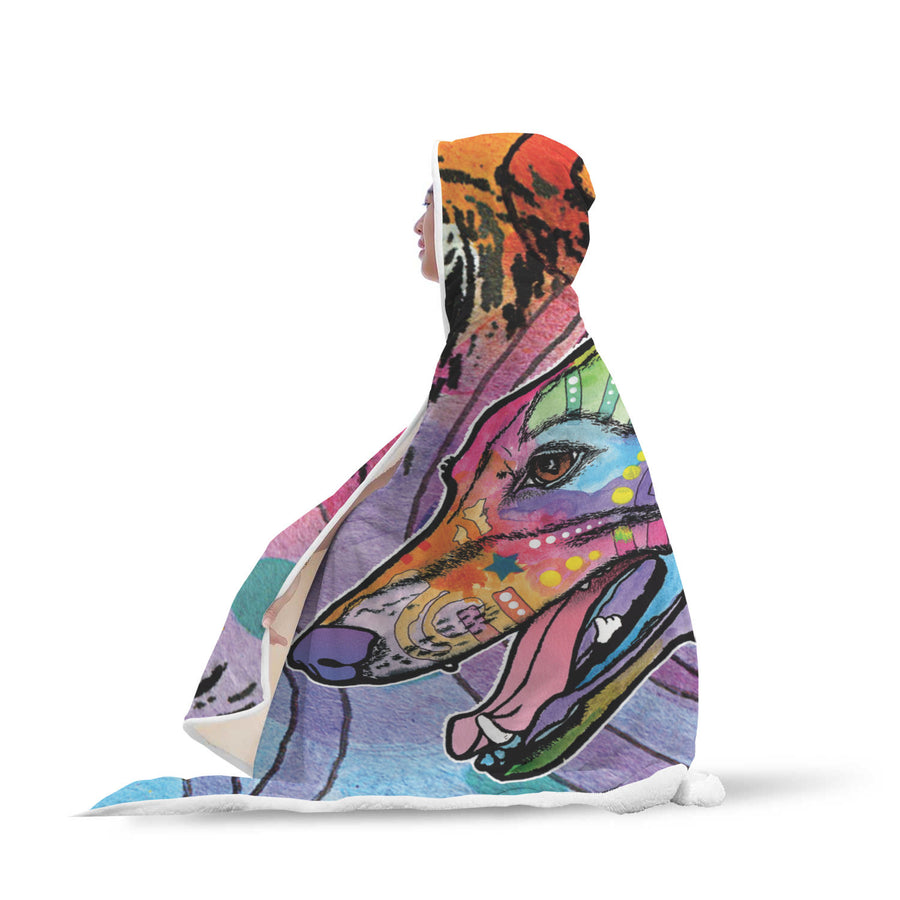 Greyhound Design Hooded Blanket - Dean Russo Art - Jill 'n Jacks