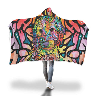 Labradoodle Design Hooded Blanket - Dean Russo Art